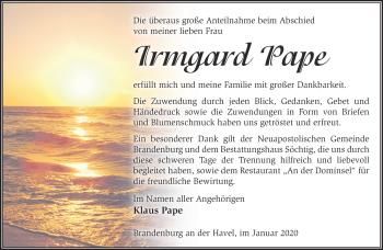 Traueranzeige Irmgard Pape