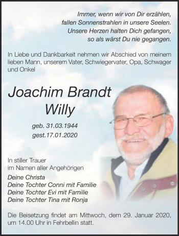 Traueranzeige Joachim Brandt