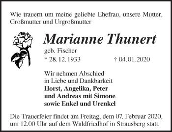 Traueranzeige Marianne Thunert