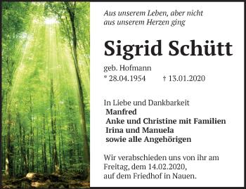 Traueranzeige Sigrid Schütt