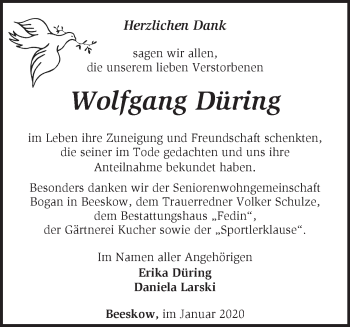 Traueranzeige Wolfgang Düring