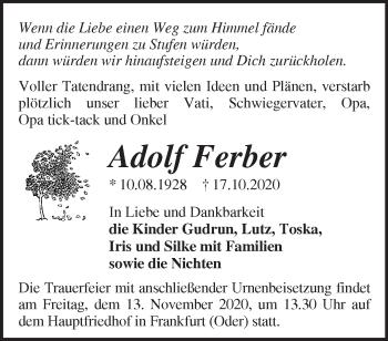 Anzeige Adolf Ferber