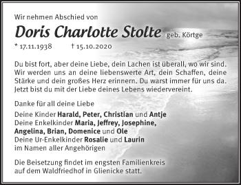 Anzeige Doris Charlotte Stolte