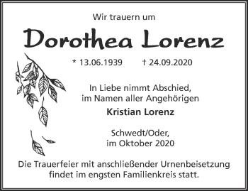 Anzeige Dorothea Lorenz