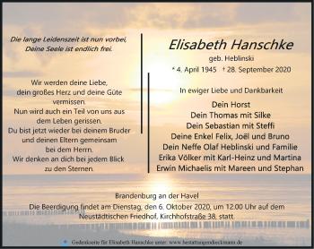 Anzeige Elisabeth Hanschke
