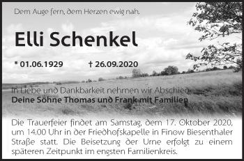 Anzeige Elli Schenkel