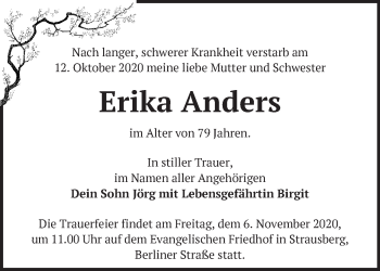 Anzeige Erika Anders