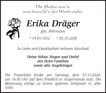 Anzeige Erika Dräger