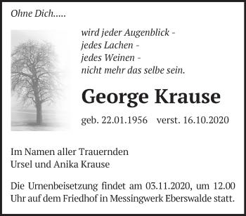 Anzeige George Krause