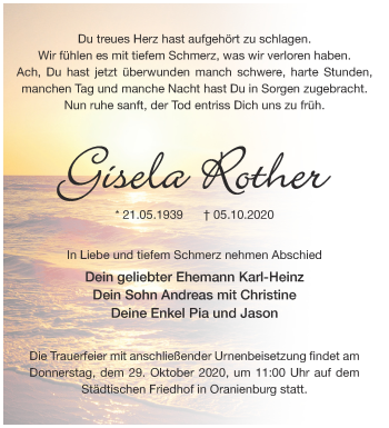 Anzeige Gisela Rother