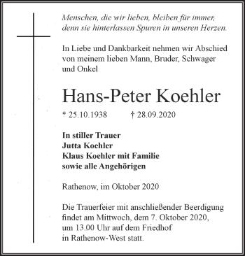 Anzeige Hans-Peter Koehler