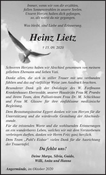 Anzeige Heinz Lietz