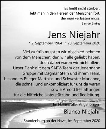 Anzeige Jens Niejahr