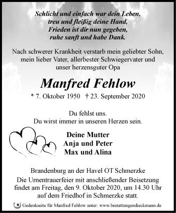 Anzeige Manfred Fehlow