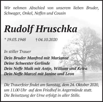 Anzeige Rudolf Hruschka