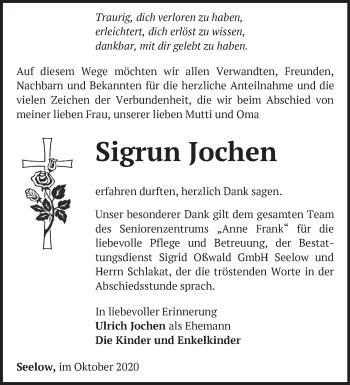 Anzeige Sigrun Jochen