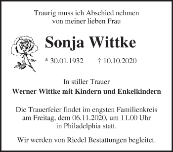 Anzeige Sonja Wittke