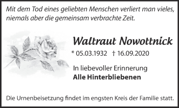 Anzeige Waltraut Nowottnick