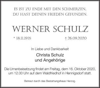 Anzeige Werner Schulz