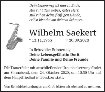 Anzeige Wilhelm Saekert
