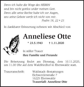 Anzeige Anneliese Otte