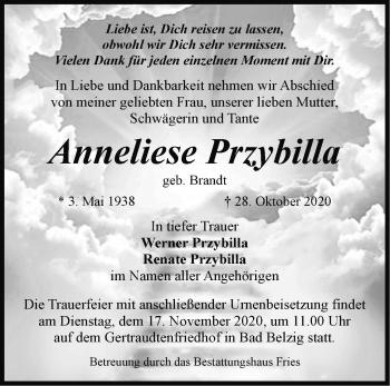 Anzeige Anneliese Przybilla