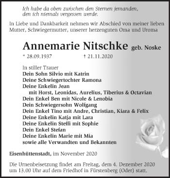 Anzeige Annemarie Nitschke