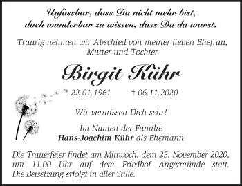 Anzeige Birgit Kühr