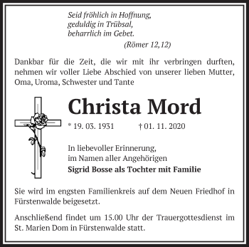 Anzeige Christa Mord