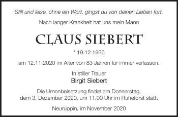 Anzeige Claus Siebert