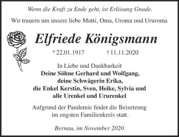 Anzeige Elfriede Königsmann
