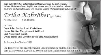 Anzeige Erika Kohröber