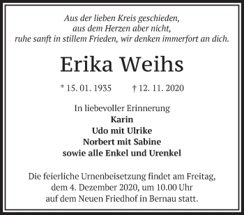 Anzeige Erika Weihs
