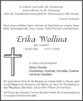 Anzeige Erika Wollina