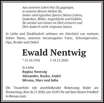Anzeige Ewald Nentwig