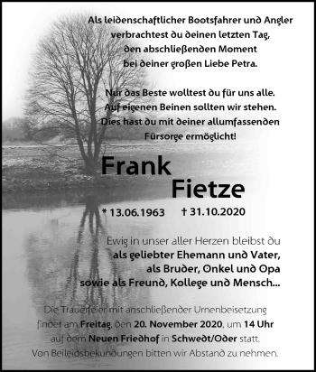 Anzeige Frank Fietze
