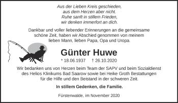Anzeige Günter Huwe