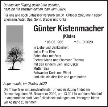 Anzeige Günter Kistenmacher