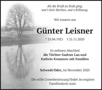 Anzeige Günter Leisner