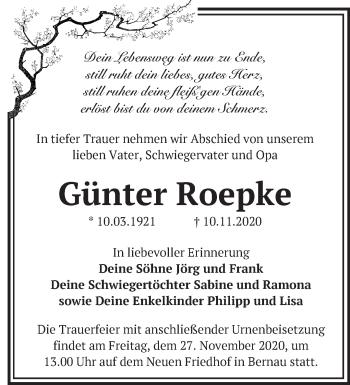Anzeige Günter Roepke