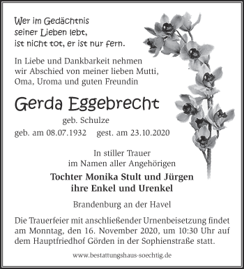 Anzeige Gerda Eggebrecht
