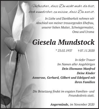 Anzeige Giesela Mundstock