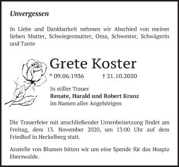 Anzeige Grete Koster
