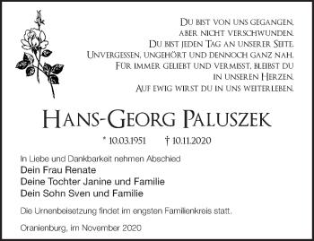 Anzeige Hans-Georg Paluszek