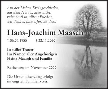 Anzeige Hans-Joachim Maasch