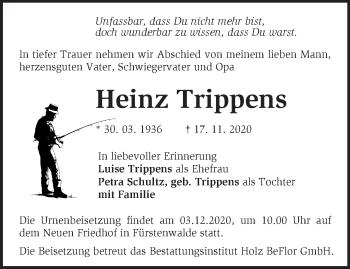 Anzeige Heinz Trippens