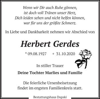 Anzeige Herbert Gerdes