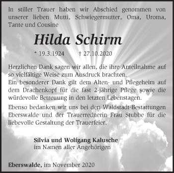 Anzeige Hilda Schirm