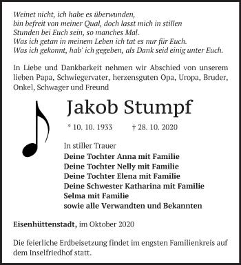 Anzeige Jakob Stumpf