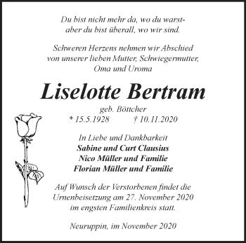 Anzeige Liselotte Bertram